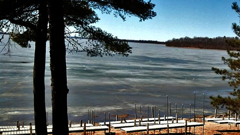 The ice is breaking up on Cutfoot Sioux Lake.