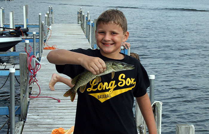 Fishing Off The Dock at Eagle Nest Lodge